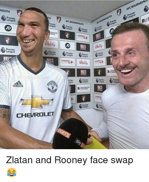 swaps: MOUTH  ad dos  CHEVROLET  BUts Zlatan and Rooney face swap 😂