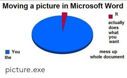 mess up: Moving a picture in Microsoft Word  It  actually  does  what  you  want  You  mess up  whole document  the picture.exe