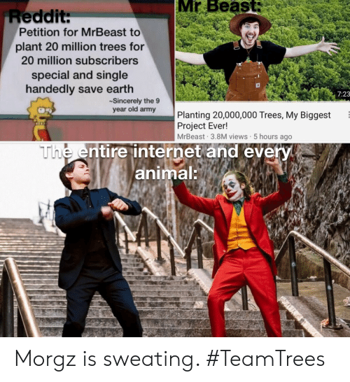 Sincerely: Mr Beast:  Reddit:  Petition for MrBeast to  plant 20 million trees for  20 million subscribers  special and single  handedly save earth  7:23  Sincerely the 9  year old army  Planting 20,000,000 Trees, My Biggest  Project Ever!  MrBeast 3.8M views 5 hours ago  The entire internet and every  animal: Morgz is sweating. #TeamTrees