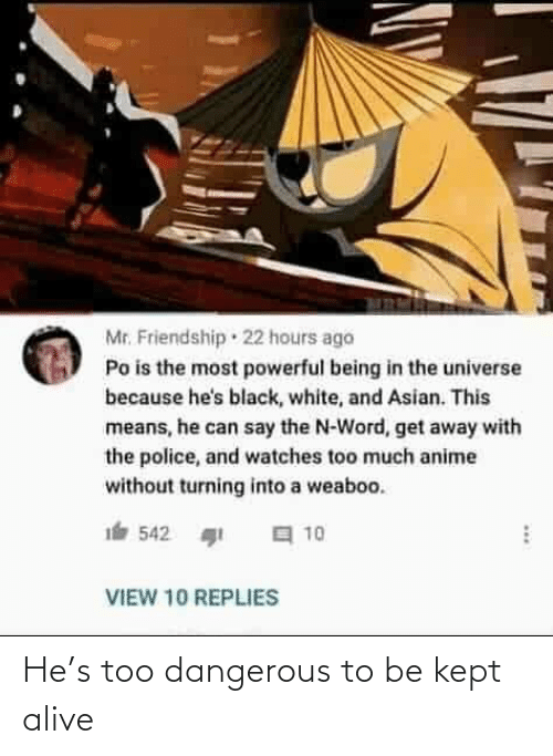 Asian: Mr. Friendship · 22 hours ago  Po is the most powerful being in the universe  because he's black, white, and Asian. This  means, he can say the N-Word, get away with  the police, and watches too much anime  without turning into a weaboo.  a 10  542  VIEW 10 REPLIES He's too dangerous to be kept alive