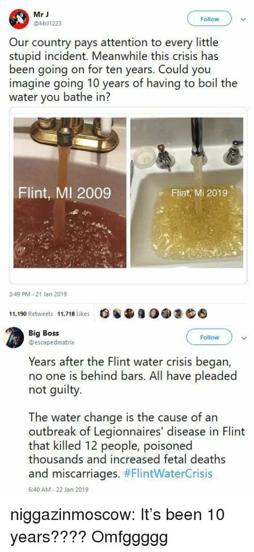 Tumblr, Blog, and Http: Mr J  @MrJ1223  Follow  Our country pays attention to every little  stupid incident. Meanwhile this crisis has  been going on for ten years. Could you  imagine going 10 years of having to boil the  water you bathe in?  Flint, MI 2009  Flint, Mi 2019  3:49 PM 21 Jan 2019  11,190 Retweets 11,718 Likes   Big Boss  @escapedmatrix  Followv  Years after the Flint water crisis began,  no one is behind bars. All have pleaded  not guilty.  The water change is the cause of an  outbreak of Legionnaires' disease in Flint  that killed 12 people, poisoned  thousands and increased fetal deaths  and miscarriages. #FlintWaterCrisis  6:40 AM-22 Jan 2019 niggazinmoscow:   It's been 10 years????   Omfggggg