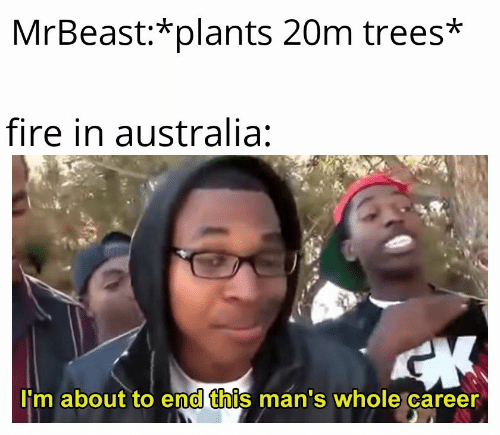 end: MrBeast:*plants 20m trees*  fire in australia:  CK  I'm about to end this man's whole career