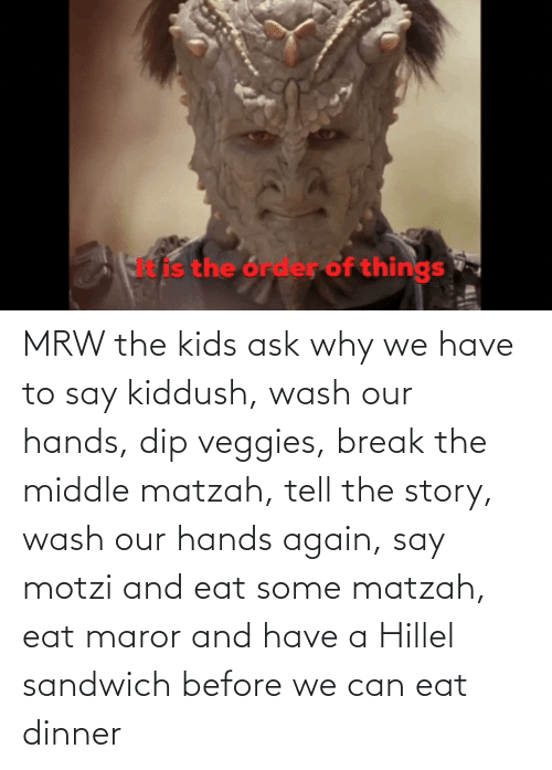 Kiddush: MRW the kids ask why we have to say kiddush, wash our hands, dip veggies, break the middle matzah, tell the story, wash our hands again, say motzi and eat some matzah, eat maror and have a Hillel sandwich before we can eat dinner