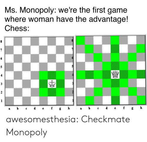 Monopoly, Tumblr, and Blog: Ms. Monopoly: we're the first game  where woman have the advantage!  Chess:  8  6  5  3  2  1  ef  d  h  b  gh  f  C  а  а awesomesthesia:  Checkmate Monopoly