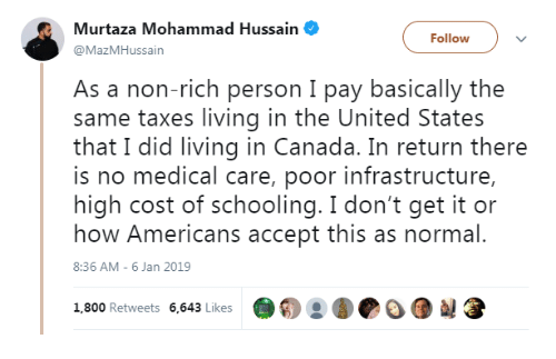 Taxes, Canada, and United: Murtaza Mohammad Hussain  @MazMHussain  Followv  As a non-rich person I pay basically the  same taxes living in the United States  that I did living in Canada. In return there  is no medical care, poor infrastructure,  high cost of schooling. I don't get it or  how Americans accept this as normal.  8:36 AM- 6 Jan 2019  1,800 Retweets 6,643 Likes  @о о