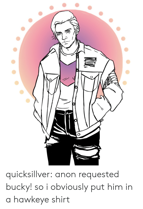 anon: MUSE quicksillver: anon requested bucky! so i obviously put him in a hawkeye shirt