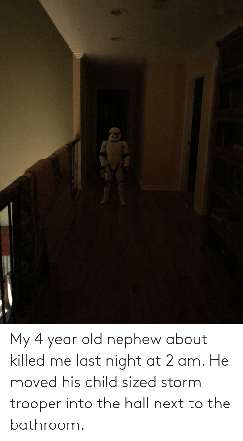 storm: My 4 year old nephew about killed me last night at 2 am. He moved his child sized storm trooper into the hall next to the bathroom.