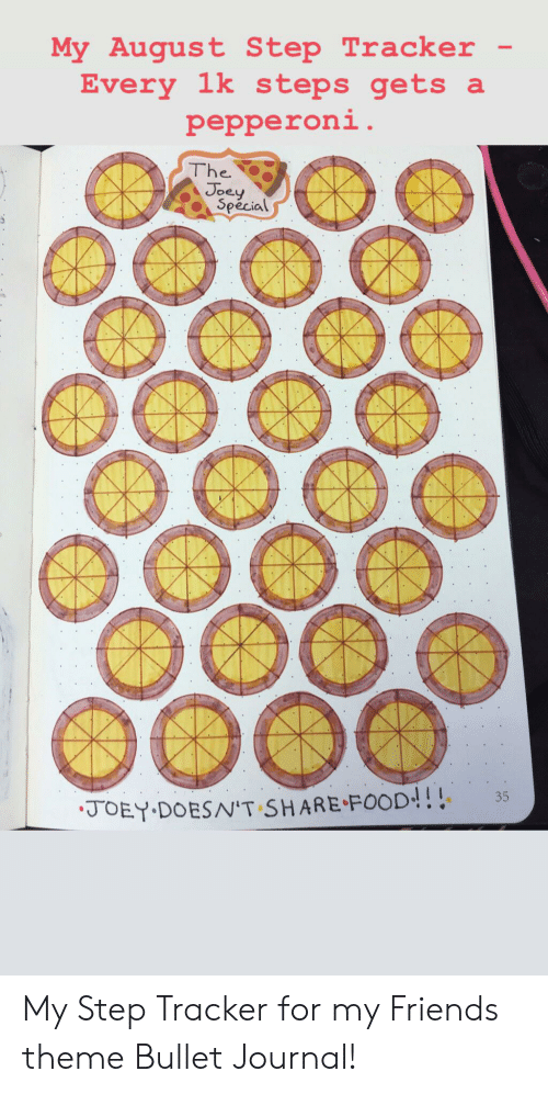 Share Food: My August Step Tracker  Every 1k s teps gets a  pepperoni.  The  Joey  Special  35  JOEY DOESN'T SHARE FOOD!! My Step Tracker for my Friends theme Bullet Journal!