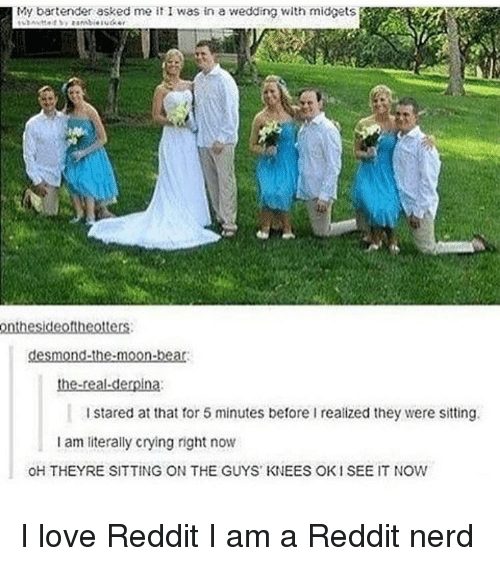 derpina: My bartender asked me it I was in a wedding with midgets  onthesideoftheotters.  desmond-the-moon-bear:  the real derpina  I stared at that for 5 minutes before I realized they were sitting.  am literally crying right now  OH THEYRE SITTING ON THE GUYS KNEES OK1 SEE IT NOW I love Reddit I am a Reddit nerd