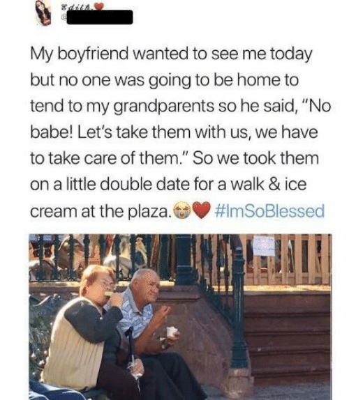 """Date, Home, and Ice Cream: My boyfriend wanted to see me today  but no one was going to be home to  tend to my grandparents so he said, """"No  babe! Let's take them with us, we have  to take care of them."""" So we took them  on a little double date for a walk & ice  cream at the plaza.co"""