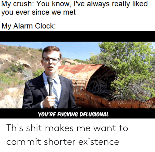 This Shit: My crush: You know, I've always really liked  you ever since we met  My Alarm Clock:  FEP  YOU'RE FUCKING DELUSIONAL This shit makes me want to commit shorter existence