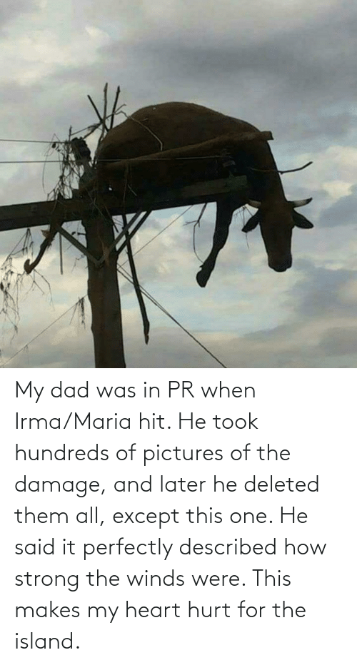 said: My dad was in PR when Irma/Maria hit. He took hundreds of pictures of the damage, and later he deleted them all, except this one. He said it perfectly described how strong the winds were. This makes my heart hurt for the island.