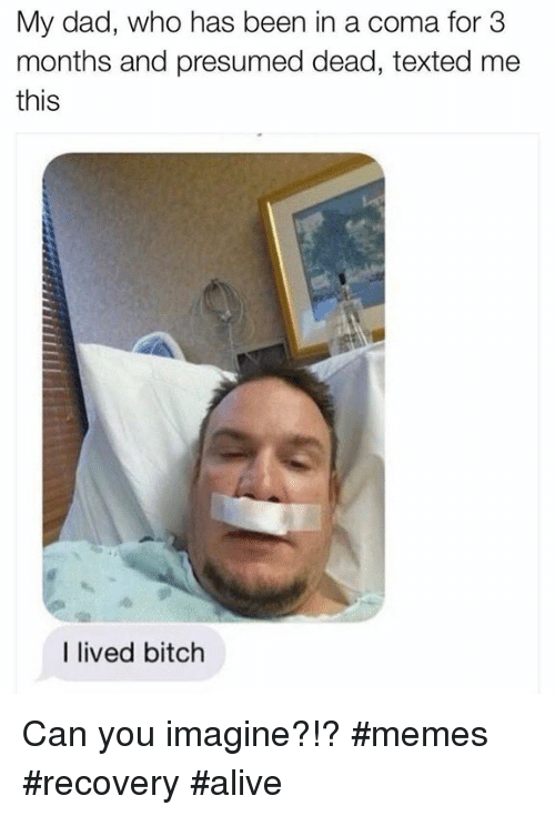 Alive, Bitch, and Dad: My dad, who has been in a coma for 3  months and presumed dead, texted me  this  I lived bitch Can you imagine?!?  #memes #recovery #alive
