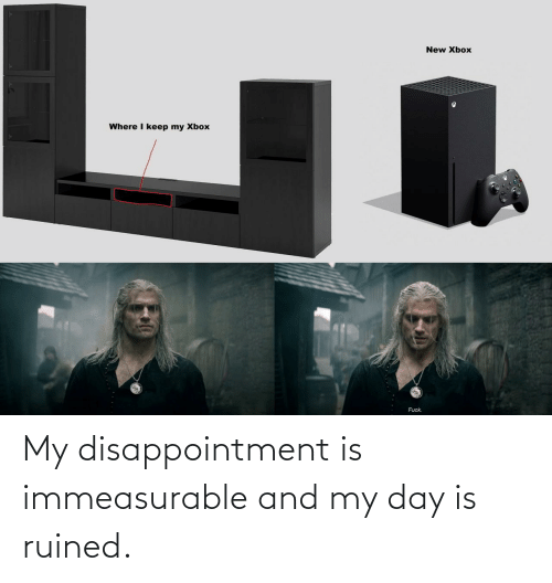 ruined: My disappointment is immeasurable and my day is ruined.