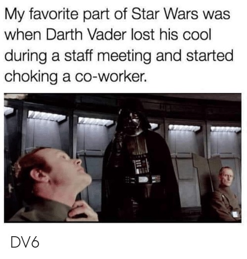 Darth Vader, Memes, and Star Wars: My favorite part of Star Wars was  when Darth Vader lost his cool  during a staff meeting and started  choking a co-worker. DV6