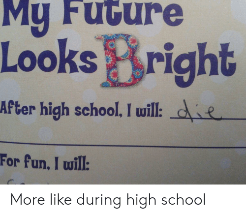 Future, School, and Fun: My Future  Looks Bright  After high school. I will: de  For fun, I will: More like during high school