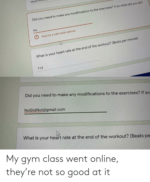 went: My gym class went online, they're not so good at it