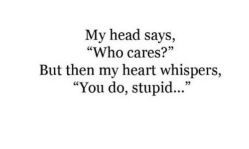 """Head, Heart, and Who: My head says,  """"Who cares?""""  But then my heart whispers,  """"You do, stupid...""""  35"""