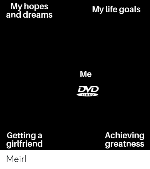 Goals, Life, and Girlfriend: My hopes  and dreams  My life goals  Me  DVD  VIDE O  Getting a  girlfriend  Achieving  greatness Meirl