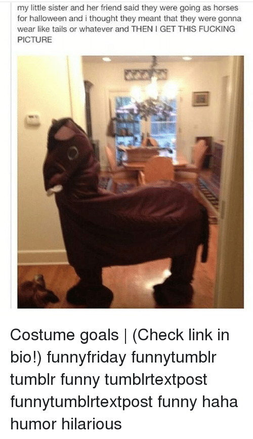 Fucking, Funny, and Goals: my little sister and her friend said they were going as horses  for halloween and i thought they meant that they were gonna  wear like tails or whatever and THEN I GET THIS FUCKING  PICTURE Costume goals | (Check link in bio!) funnyfriday funnytumblr tumblr funny tumblrtextpost funnytumblrtextpost funny haha humor hilarious