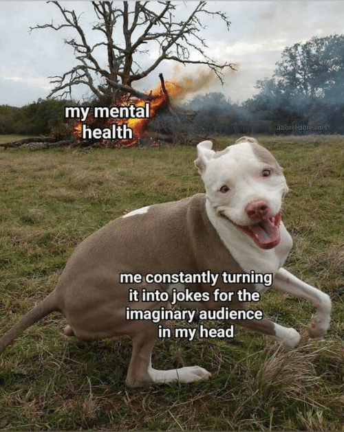 Head, Jokes, and Mental Health: my mental  health  aborteddreams  me constantly turning  it into jokes for the  imaginary audience  in my head