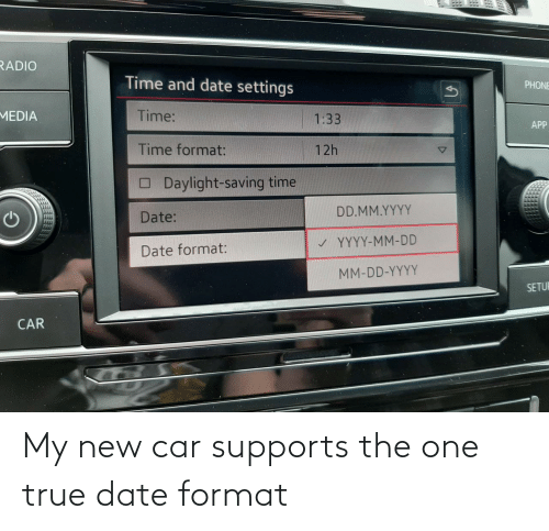 Date: My new car supports the one true date format