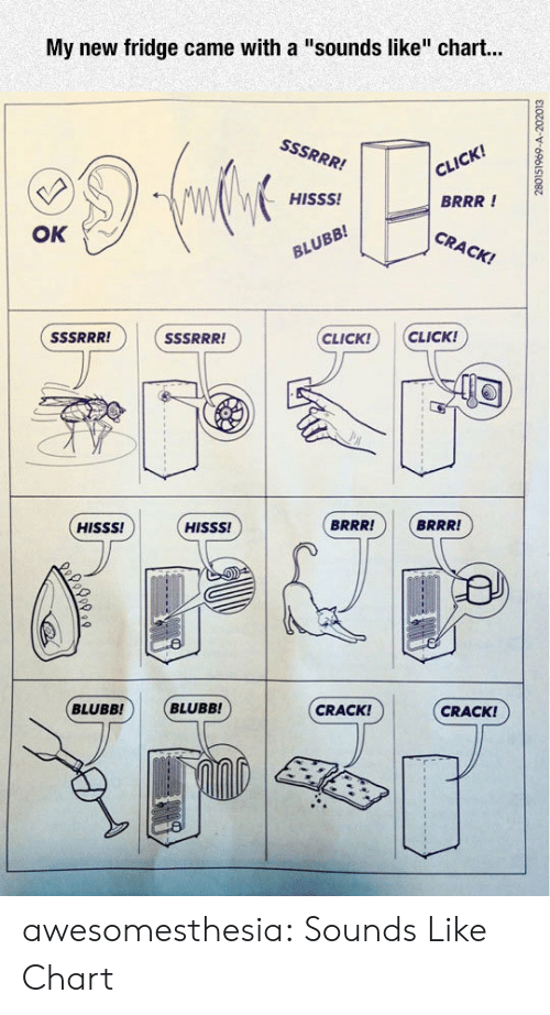 "Click, Tumblr, and Blog: My new fridge came with a ""sounds like"" chart...  cil  BRRR !  CRACK!  HISSS!  OK  CLICK! CLICK!  -1に]  BRRR!  BRRR!  HISSS!  HISSS!  CRACK!  CRACK!  BLUBB! BLUBB! awesomesthesia:  Sounds Like Chart"
