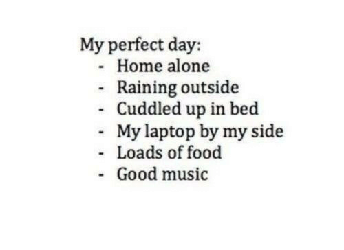 Being Alone, Food, and Home Alone: My perfect day:  - Home alone  Raining outside  Cuddled up in bed  My laptop by my side  Loads of food  Good music  -  -