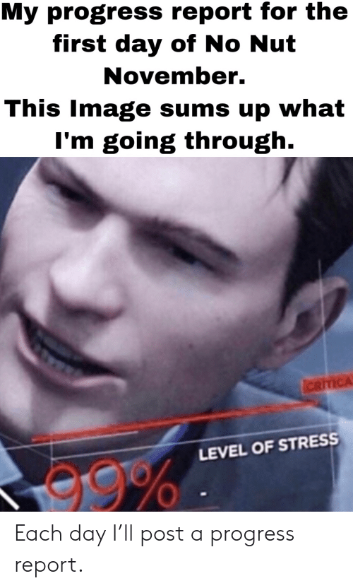 Reddit, Image, and Stress: My progress report for the  first day of No Nut  November.  This Image sums up what  I'm going through.  ICRITICA  LEVEL OF STRESS  e9% Each day I'll post a progress report.