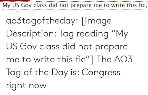 """congress: My US Gov class did not prepare me to write this fic, ao3tagoftheday:  [Image Description: Tag reading """"My US Gov class did not prepare me to write this fic""""]  The AO3 Tag of the Day is: Congress right now"""