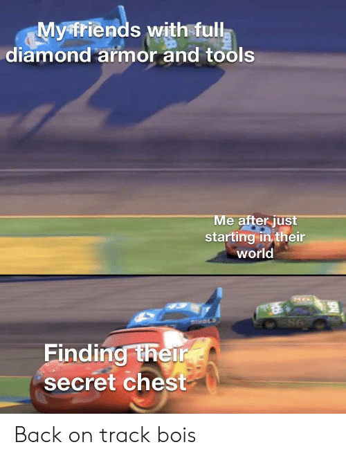Diamond: Myfriends with full  diamond armor and tools  Me after just  starting in their  world  DHOLS  98  Finding their  secret chest Back on track bois