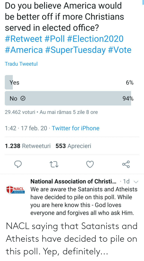 pile on: NACL saying that Satanists and Atheists have decided to pile on this poll. Yep, definitely...