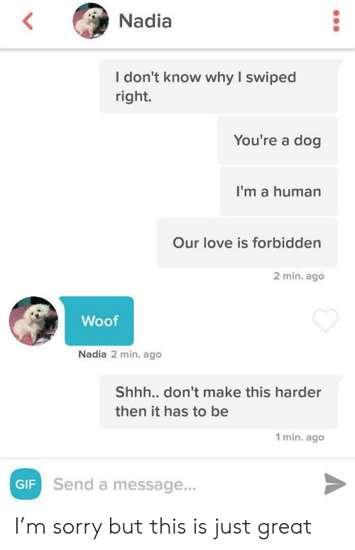 woof: Nadia  I don't know why I swiped  right.  You're a dog  I'm a human  Our love is forbidden  2 min. ago  Woof  Nadia 2 min. ago  Shhh.. don't make this harder  then it has to be  1 min. ago  Send a message...  GIF I'm sorry but this is just great