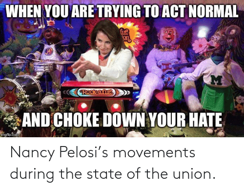 Nancy Pelosi: Nancy Pelosi's movements during the state of the union.