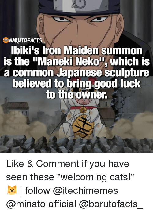"""Summone: NARW10 FACTS  Ibiki's Iron Maiden summon  is the """"Maneki Neko T, which is  a common Japanese sculpture  believed to bring good luck  to the owner. Like & Comment if you have seen these """"welcoming cats!"""" 🐱 