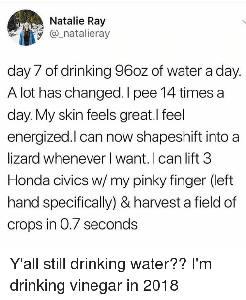 Energized: Natalie Ray  @ natalieray  day 7 of drinking 96oz of water a day.  A lot has changed. I pee 14 times a  day. My skin feels great.l feel  energized.l can now shapeshift into a  lizard whenever l want. I can lift 3  Honda civics w/ my pinky finger (left  hand specifically) & harvest a field of  crops in 0.7 seconds Y'all still drinking water?? I'm drinking vinegar in 2018