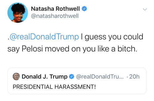 J Trump: Natasha Rothwell  @natasharothwell  @realDonaldTrump I guess you could  say Pelosi moved on you like a bitch.  Donald J. Trump  @realDonaldTru... 20h  PRESIDENTIAL HARASSMENT!