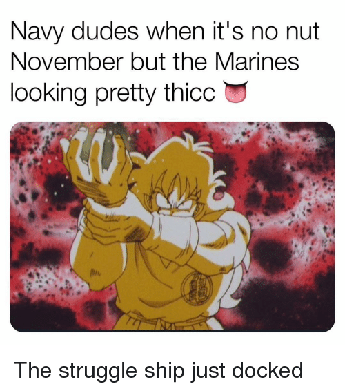 Memes, Struggle, and Marines: Navy dudes when it's no nut  November but the MarineS  looking pretty thicc The struggle ship just docked