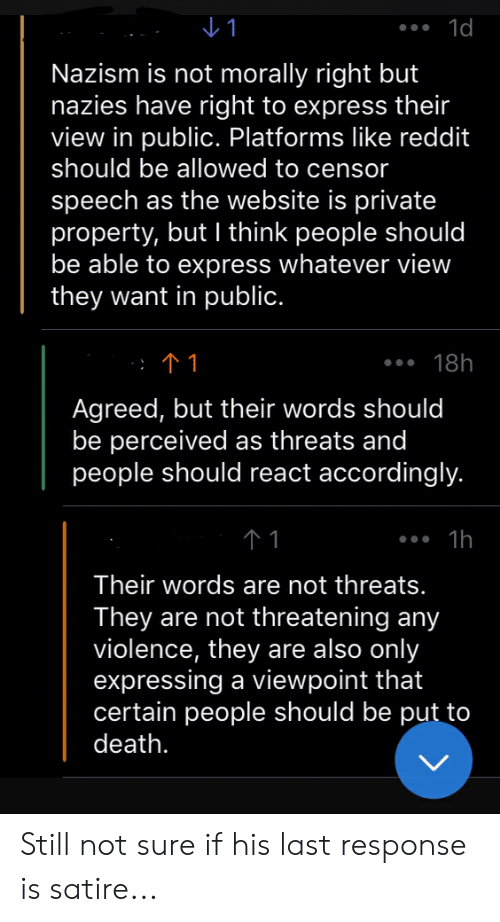 Reddit, Death, and Express: Nazism is not morally right but  nazies have right to express their  view in public. Platforms like reddit  should be allowed to censor  speech as the website is private  property, but I think people should  be able to express whatever view  they want in public.  18h  Agreed, but their words should  be perceived as threats and  people should react accordingly.  Their words are not threats.  They are not threatening any  violence, they are also only  expressing a viewpoint that  certain people should be put to  death. Still not sure if his last response is satire...