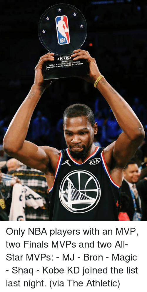 All Star, Finals, and Nba: NBA Only NBA players with an MVP, two Finals MVPs and two All-Star MVPs:  - MJ - Bron - Magic - Shaq - Kobe  KD joined the list last night. (via The Athletic)