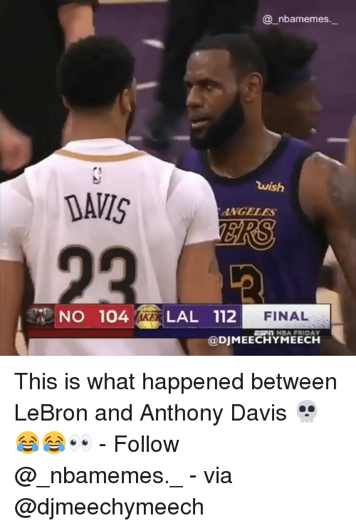 Friday, Memes, and Nba: @ nbamemes  wish  DAVIS  ANGELES  FINAL  NO 104 LAL 112  ESF NBA FRIDAY  @DJMEECHYMEECH This is what happened between LeBron and Anthony Davis 💀😂😂👀 - Follow @_nbamemes._ - via @djmeechymeech