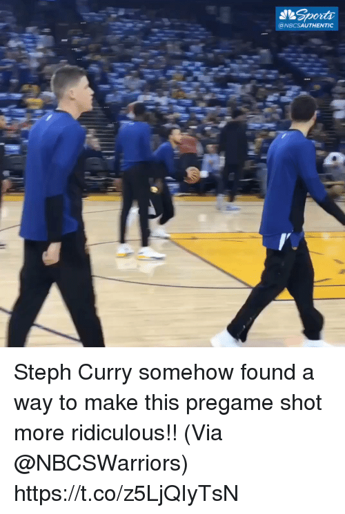 Memes, Steph Curry, and 🤖: @NBCSAUTHENTIC Steph Curry somehow found a way to make this pregame shot more ridiculous!!   (Via @NBCSWarriors)   https://t.co/z5LjQIyTsN