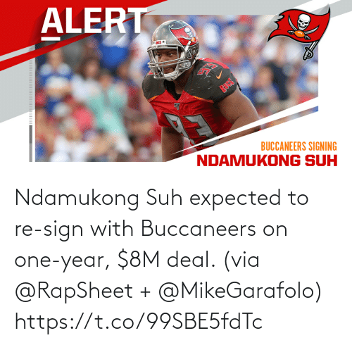 deal: Ndamukong Suh expected to re-sign with Buccaneers on one-year, $8M deal. (via @RapSheet + @MikeGarafolo) https://t.co/99SBE5fdTc