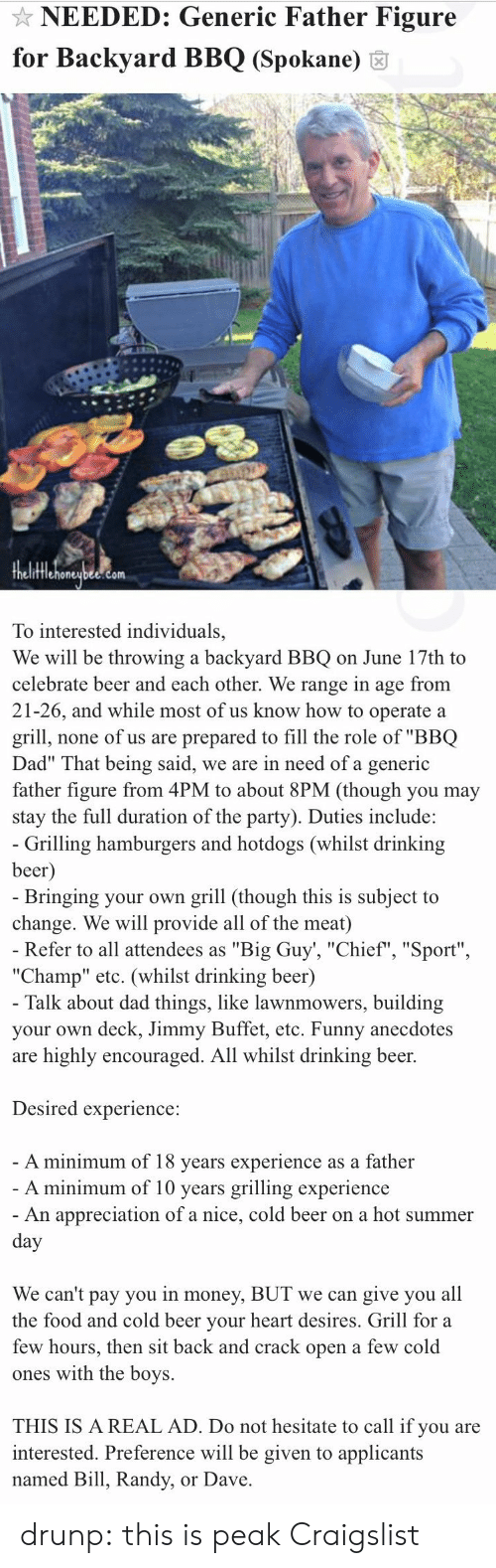 "Beer, Craigslist, and Dad: NEEDED: Generic Father Figure  for Backyard BBQ (Spokane) 6  fflehoneubee.com  To interested individuals,  We will be throwing a backyard BBQ on June 17th to  celebrate beer and each other. We range in age from  21-26, and while most of us know how to operate a  grill, none of us are prepared to fill the role of ""BBQ  Dad"" That being said, we are in need of a generic  father figure from 4PM to about 8PM (though you may  stay the full duration of the party). Duties include:   Grilling hamburgers and hotdogs (whilst drinking  beer  Bringing your own grill (though this is subject to  change. We will provide all of the meat)  Refer to all attendees as ""Big Guy', ""Chief"", ""Sport""  ""Champ"" etc. (whilst drinking beer)  Talk about dad things, like lawnmowers, building  your own deck, Jimmy Buffet, etc. Funny anecdotes  are highly encouraged. All whilst drinking beer.  Desired experience:  A minimum of 18 vears experience as a father  A minimum of 10 years grilling experience  An appreciation of a nice, cold beer on a hot summer  We can't pay you in money, BUT we can give you all  the food and cold beer vour heart desires. Grill for a  few hours, then sit back and crack open a few cold  ones with the boys.  THIS IS A REAL AD. Do not hesitate to call if you are  interested. Preference will be given to applicants  named Bill, Randy, or Dave drunp: this is peak Craigslist"