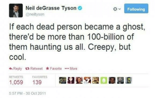 reply: Neil deGrasse Tyson O  Following  @neiltyson  If each dead person became a ghost,  there'd be more than 100-billion of  them haunting us all. Creepy, but  cool.  6 Reply 17 Retweet Favorite .. More  RETWEETS  FAVORITES  1,059  139  5:57 PM - 30 Oct 2011