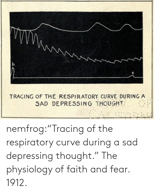 """page: nemfrog:""""Tracing of the respiratory curve during a sad depressing thought.""""The physiology of faith and fear. 1912."""