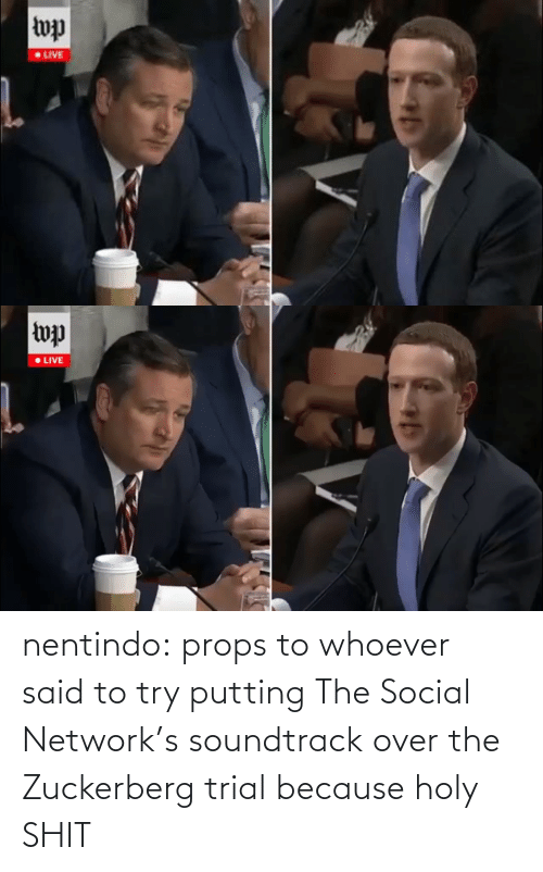shit: nentindo:  props to whoever said to try putting The Social Network's soundtrack over the Zuckerberg trial because holy SHIT