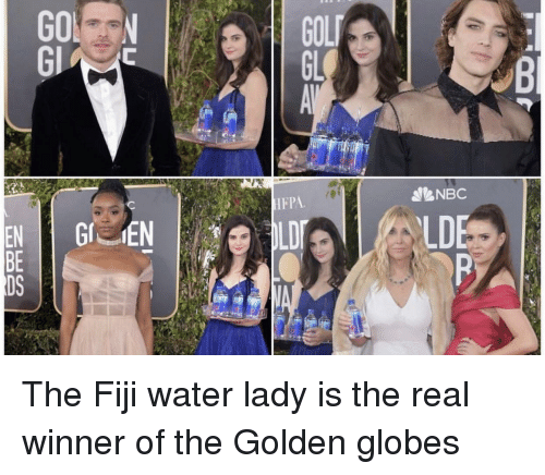 Golden Globes: NES  EBD The Fiji water lady is the real winner of the Golden globes