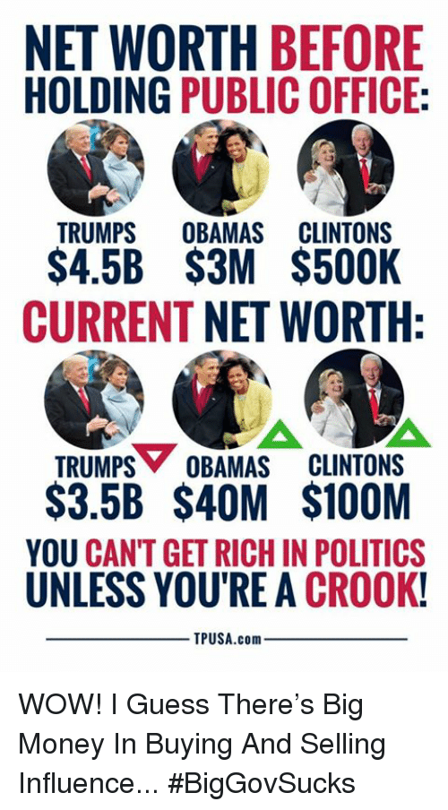 Net Worth: NET WORTH BEFORE  HOLDING PUBLIC OFFICE:  TRUMPS OUAMAS CLUNTONS  S4.5B $3M $500K  CURRENT NET WORTH  TRUMPS OBAMAS CLINTONS  $3.5B $4OM $100M  YOU CANT GET RICH IN POLITICS  UNLESS YOU'RE A CROOK!  TPUSA.com WOW! I Guess There's Big Money In Buying And Selling Influence... #BigGovSucks