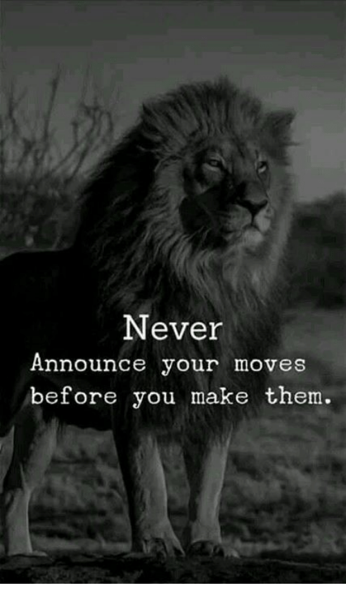Never, Them, and Make: Never  Announce your moves  before you make them.